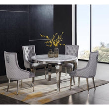 Load image into Gallery viewer, Florence Round Marble Dining Table with 4 Dark Grey Iron Back Chairs