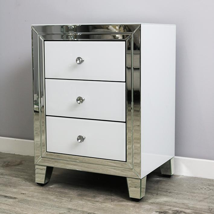 Bianco Three Drawer Bedside Unit