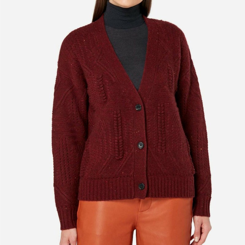 Ladies Cable Knit Cashmere Cardigan in Burgundy Red