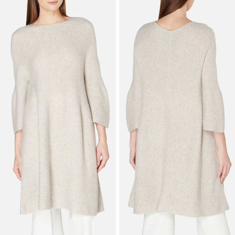 Bell Sleeve Cashmere Tunic in Sand Brown