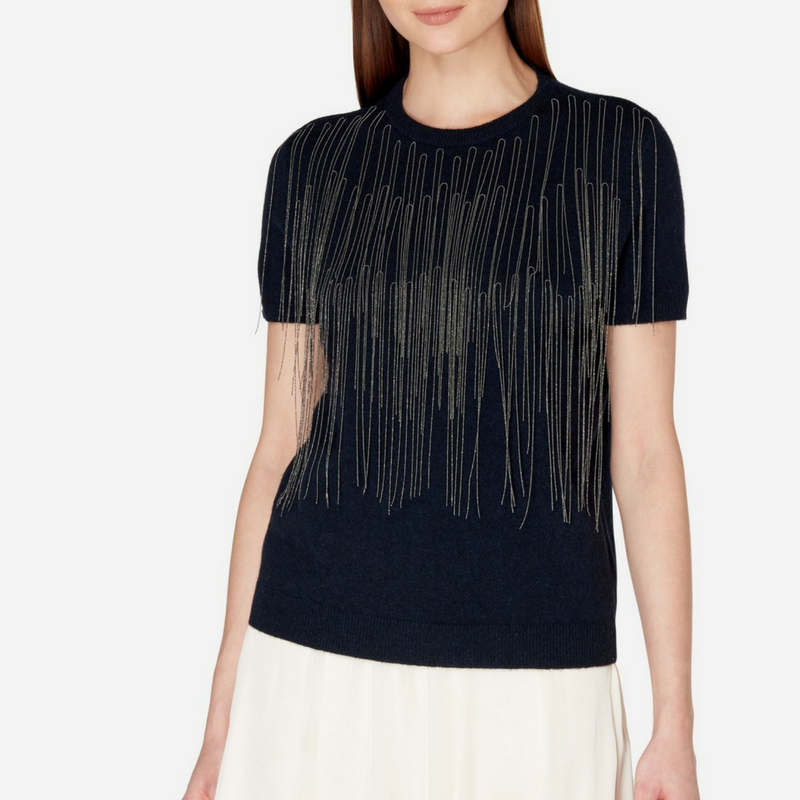 Chain Fronted Cashmere T Shirt