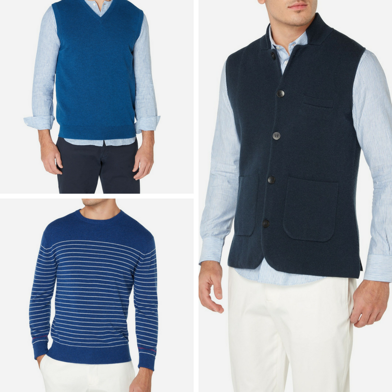 Men's Blue Cashmere Knitwear at N.Peal