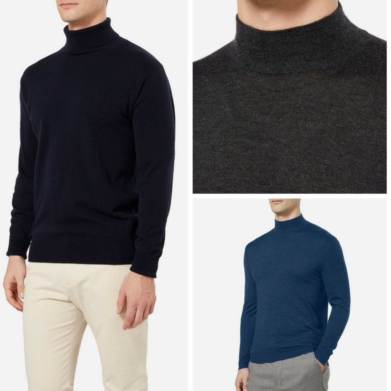 Men's Bond Style Roll Neck Cashmere Jumpers