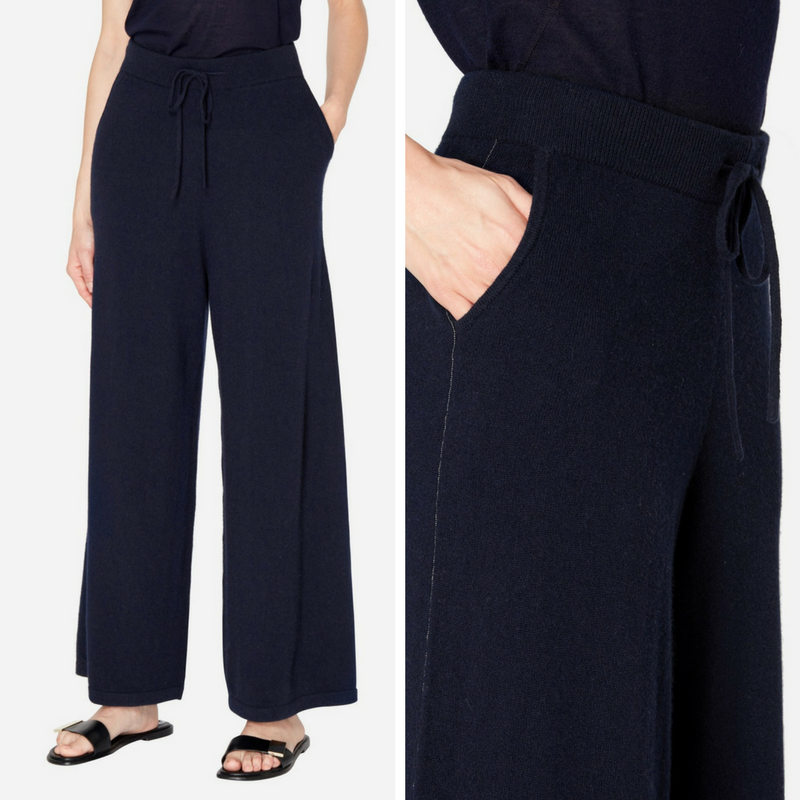 N.Peal Chain Embellished Cashmere Trousers in Navy Blue