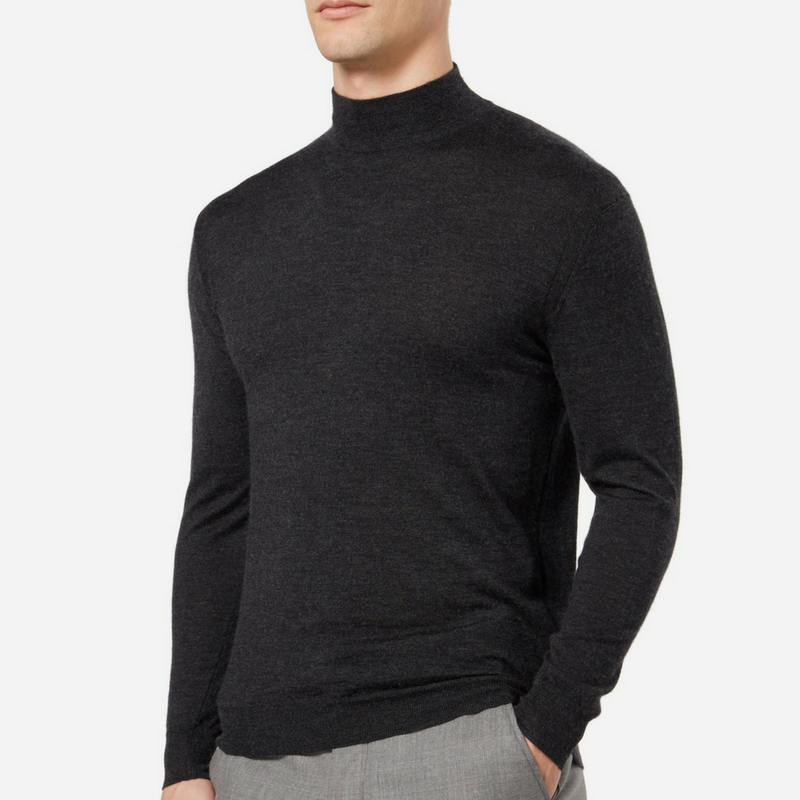 N.Peal Fine Gauge Mock Turtle Neck Jumper in Dark Charcoal Grey