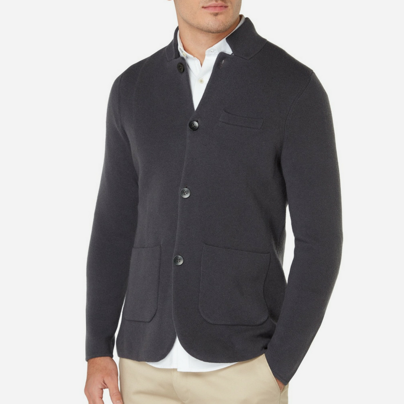 N.Peal Milano Cashmere Jacket in Flint Grey