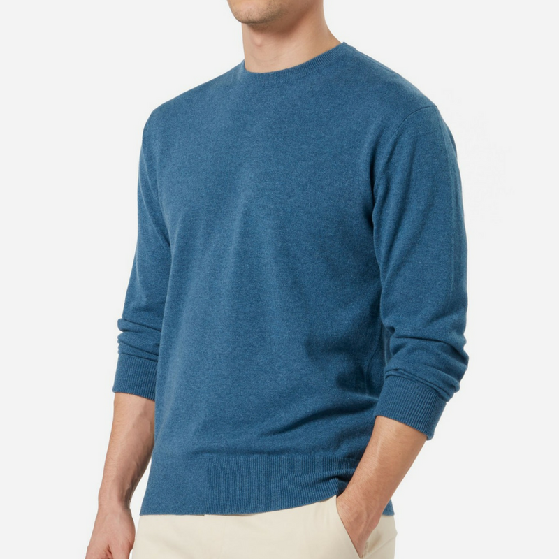 N.Peal Oxford Round Neck Cashmere Jumper in Blue Wave
