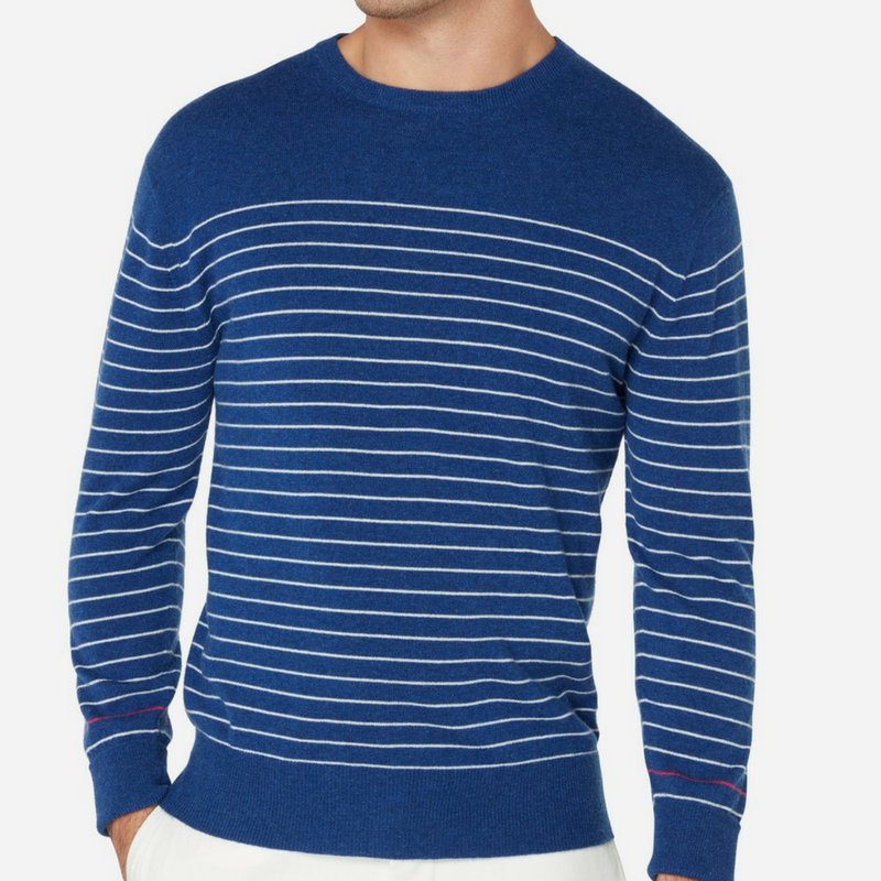 N.Peal Striped Round Neck Cashmere Sweater in Electric Blue and New Ivory White