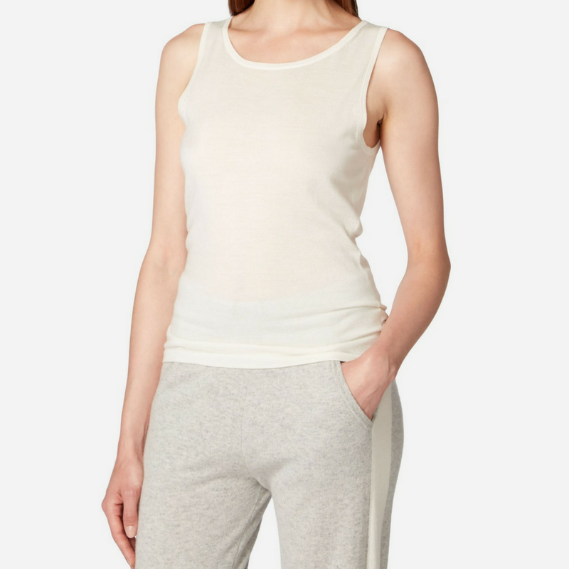 N.Peal Superfine Cashmere Shell Top in Ivory White