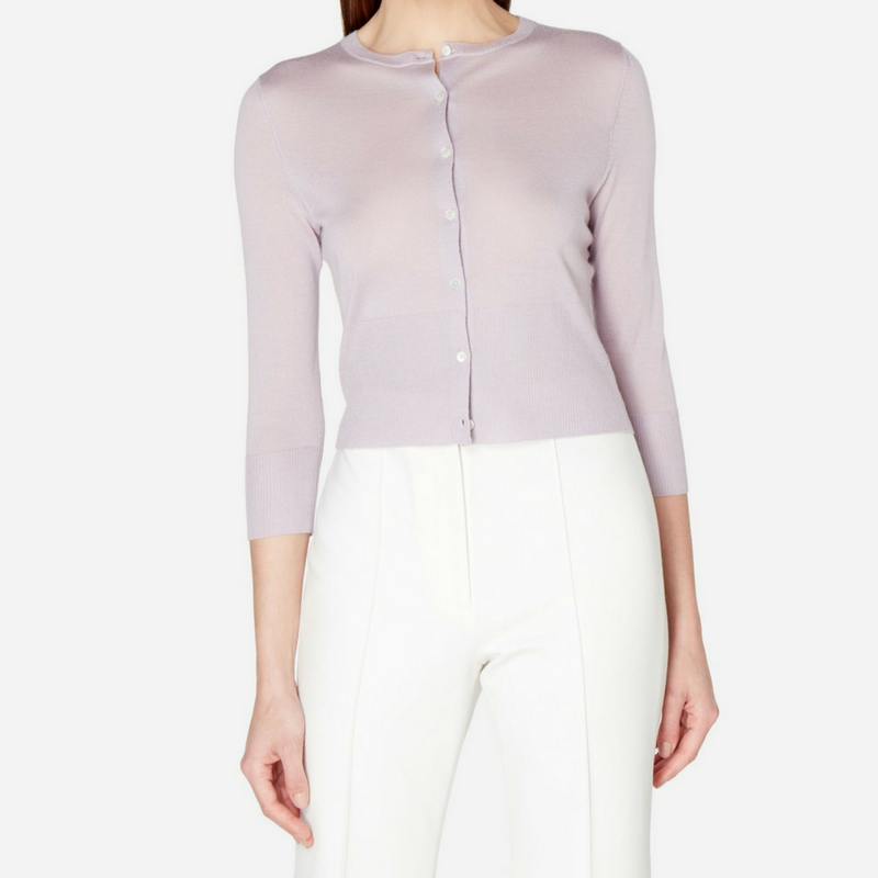 N.Peal Superfine Cropped Cashmere Cardigan in Lilac Grey