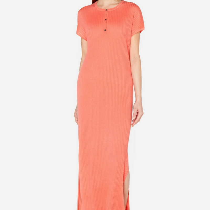 N.Peal Superfine Ribbed Maxi Cashmere Dress in Rich Coral Pink