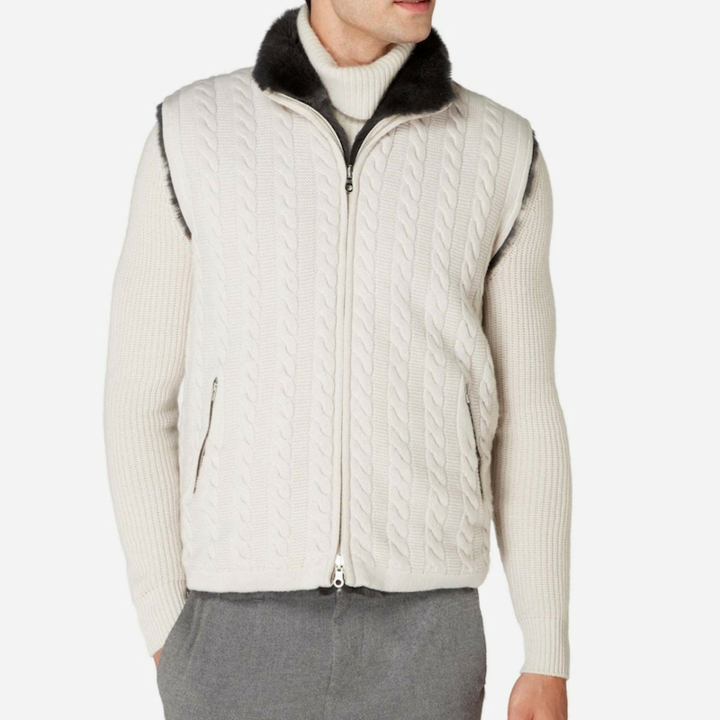 Npeal Cable Fur Lined Gilet in Snow Grey