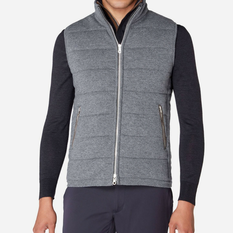 NPeal Men's Mall Quilted Jacket in Elephant Grey and Charcoal