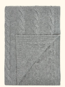 cashmere cable throw silver grey