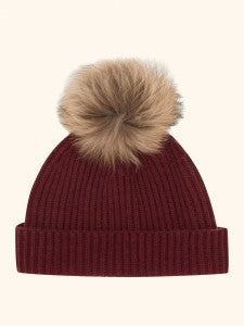 ribbed spiced wine cashmere hat detachable pom