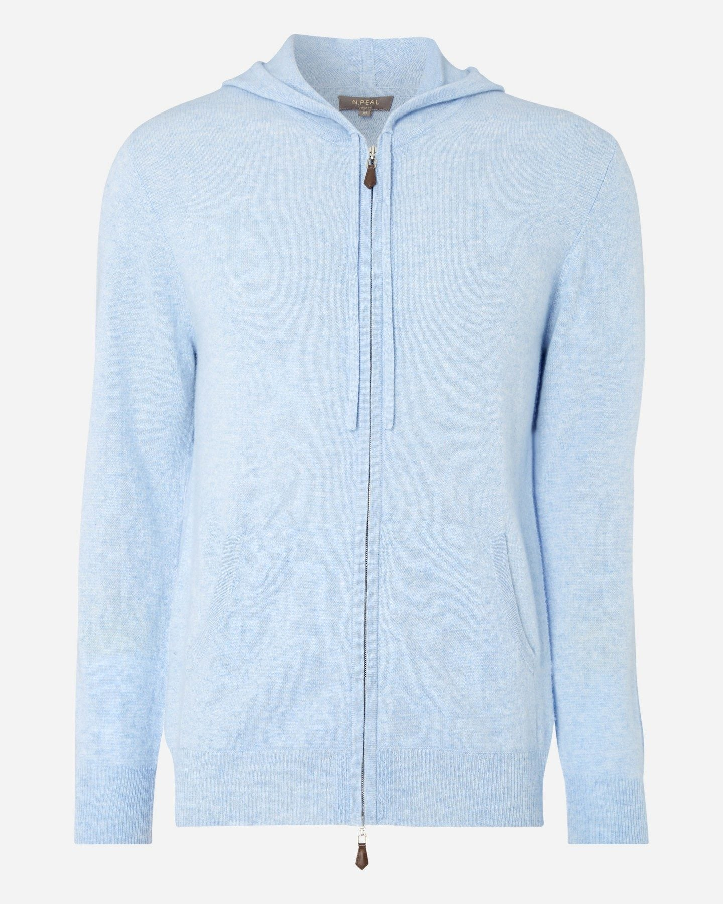 Hooded Zipped Cashmere Top Cornflower Blue 2