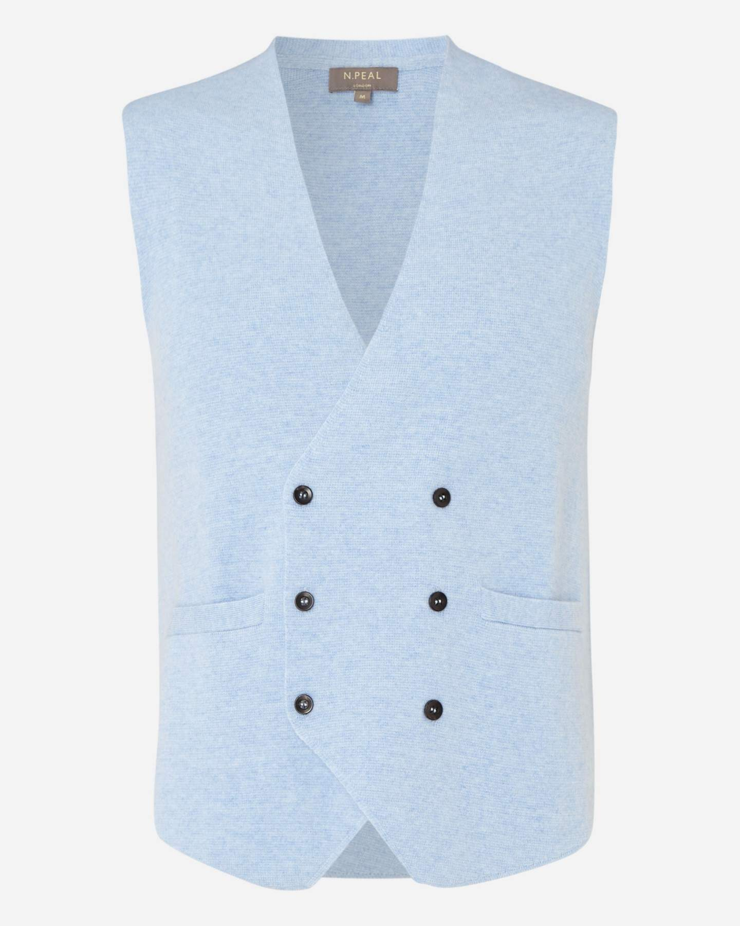 Double Breasted Cashmere Waistcoat Cornflower Blue 2