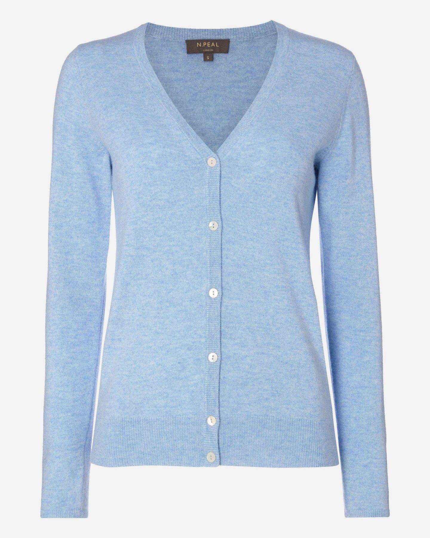 V Neck Cashmere Cardigan Cornflower Blue 2