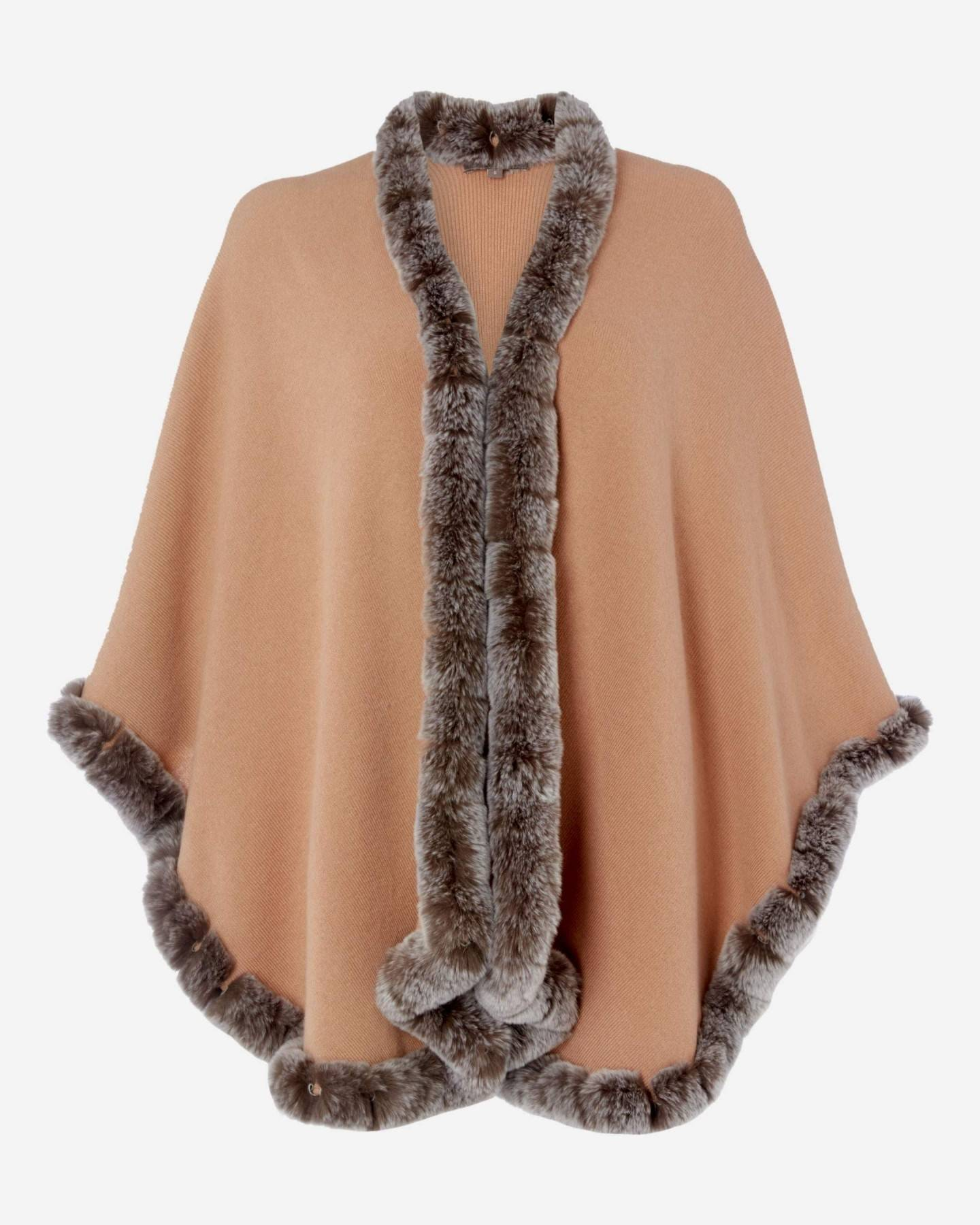 Cape With Fur Trim Edge Camel Brown Sable Brown Tipped Fur 2