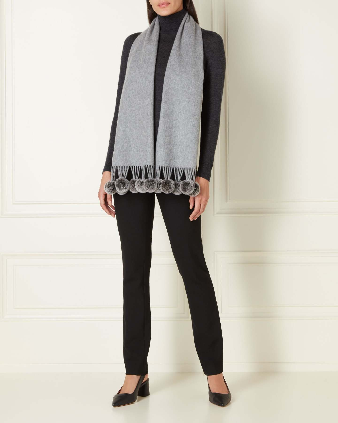 Fur Bobble Woven Cashmere Scarf Flannel Grey Charcoal Lwt 2
