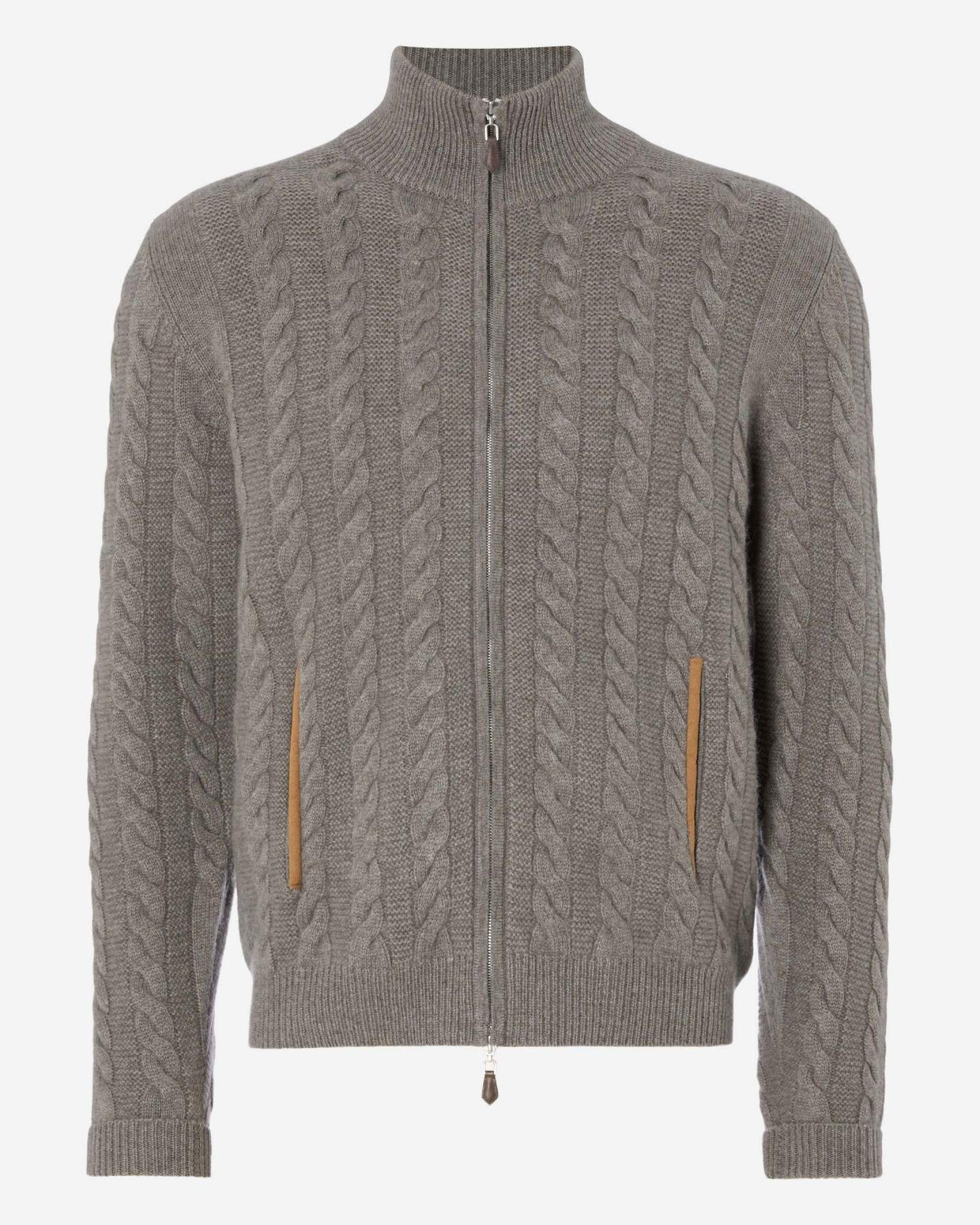 The Richmond Cable Cashmere Cardigan Taupe Brown 2