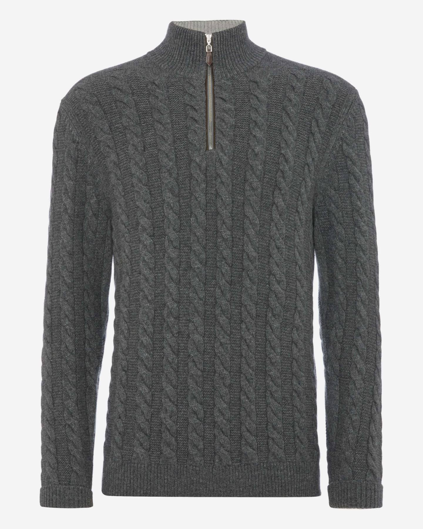 Cable Half Zip Cashmere Sweater Elephant Grey 2