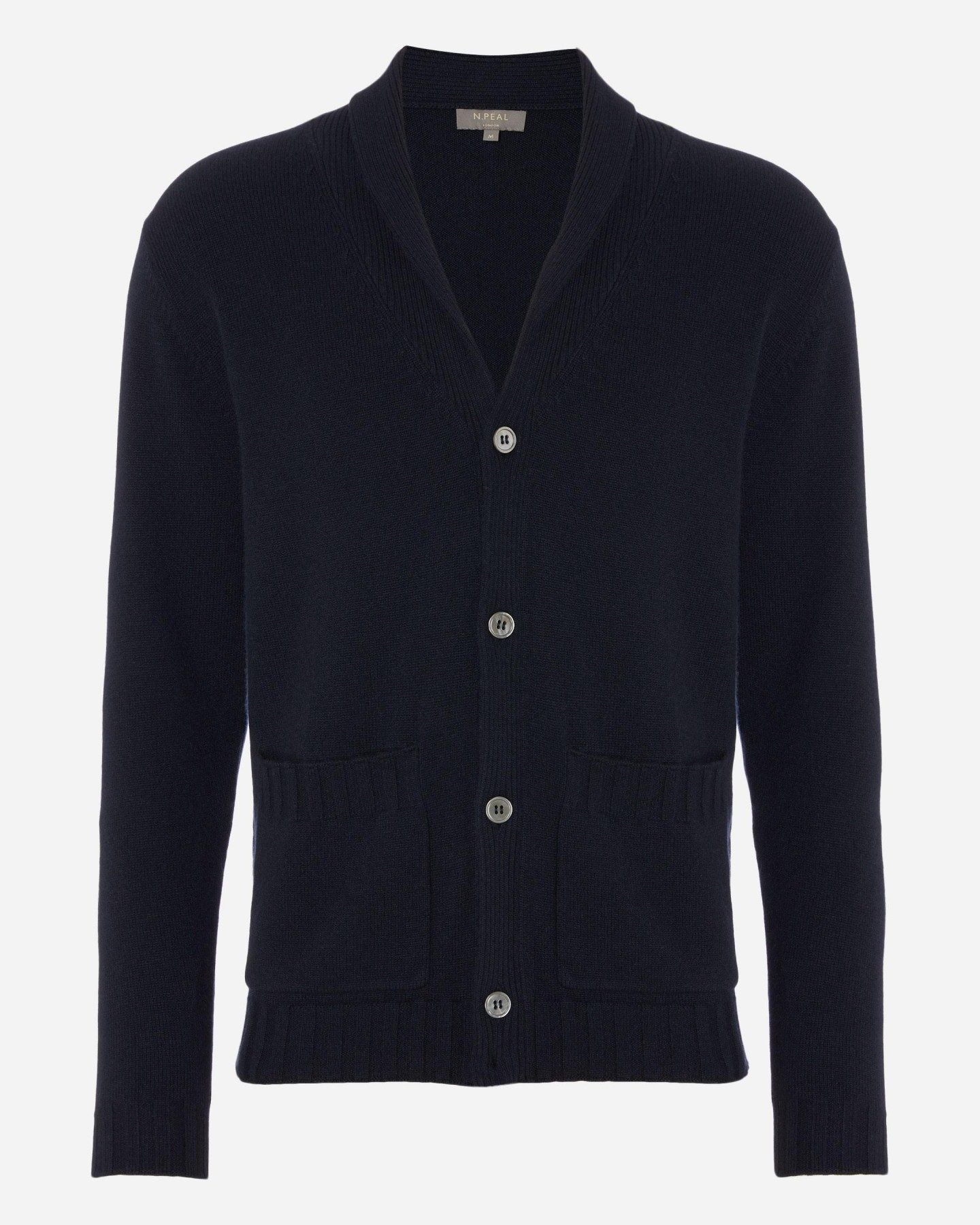 Turnback Collar Cashmere Cardigan Navy Blue 2