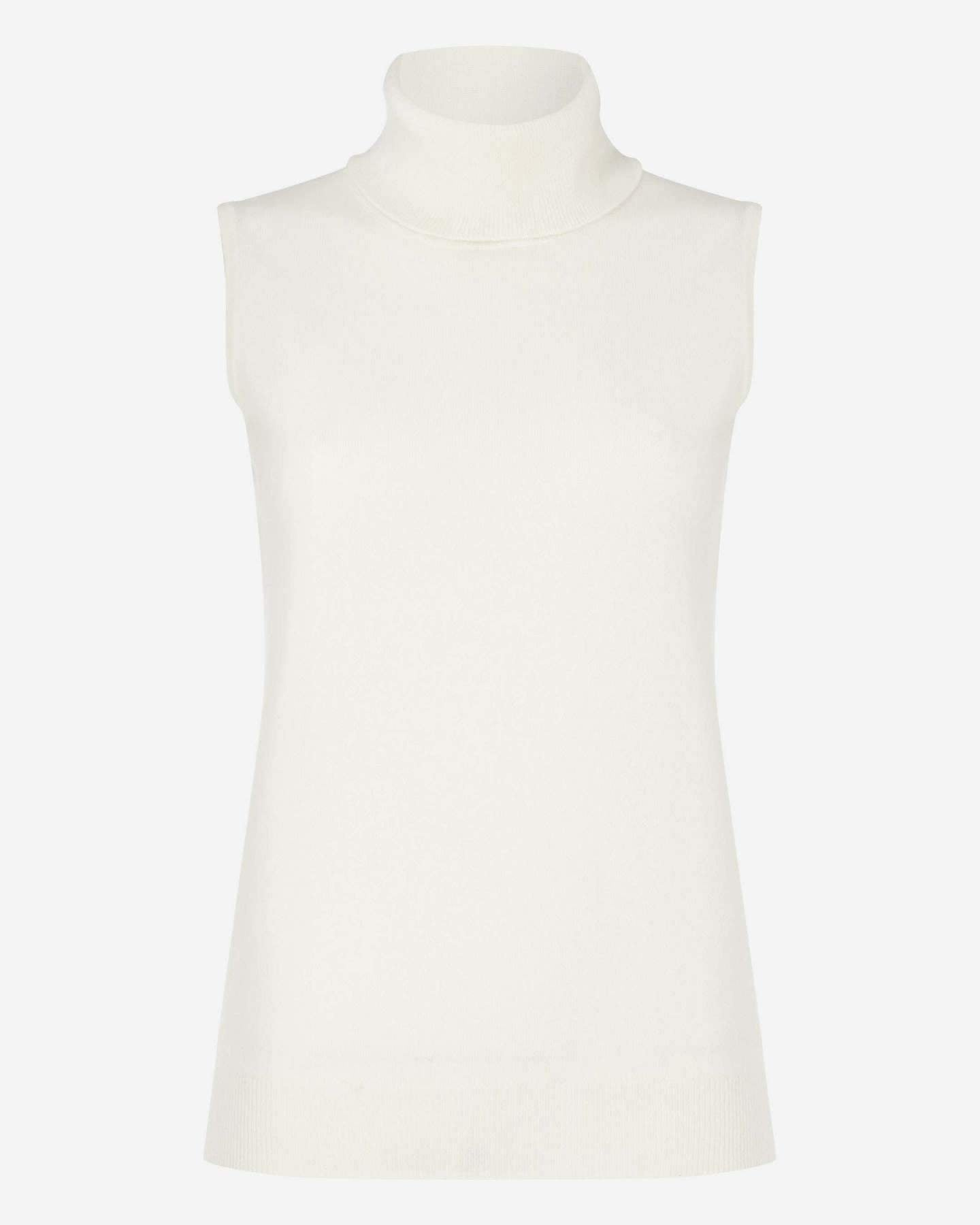 Sleeveless Roll Neck Cashmere Top New Ivory White 2