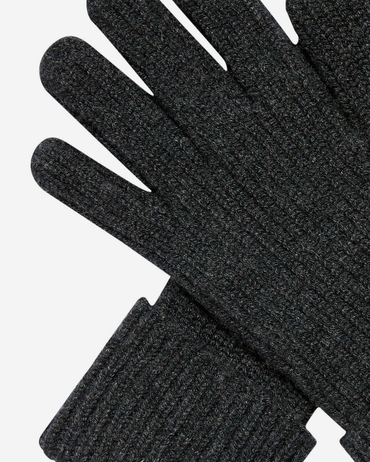 Mens Ribbed Cashmere Gloves Dark Charcoal 2
