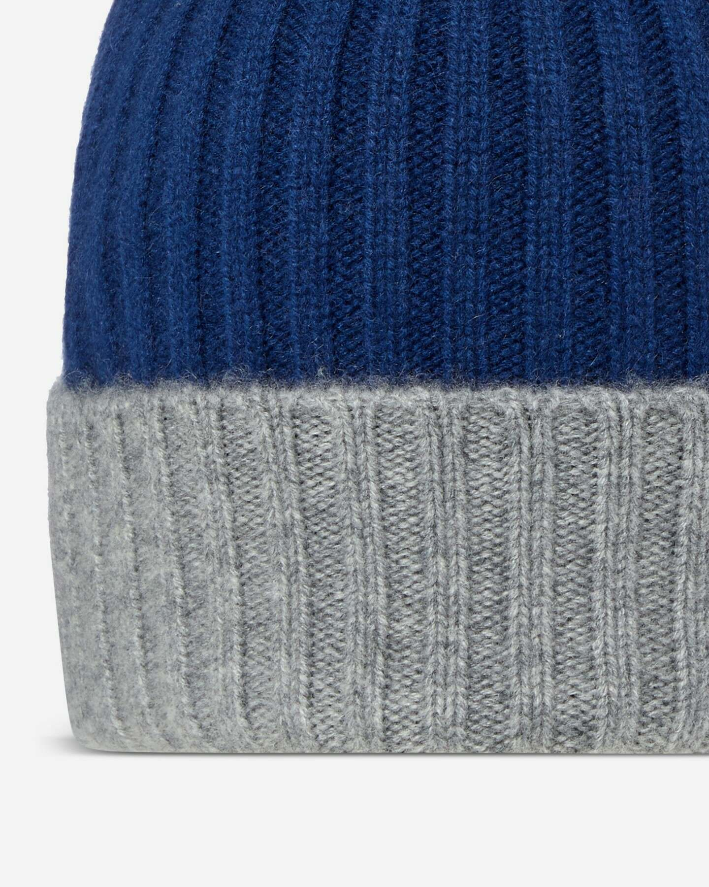 Chunky Rib Contrast Cashmere Hat Atlantis Blue Flannel Grey 2