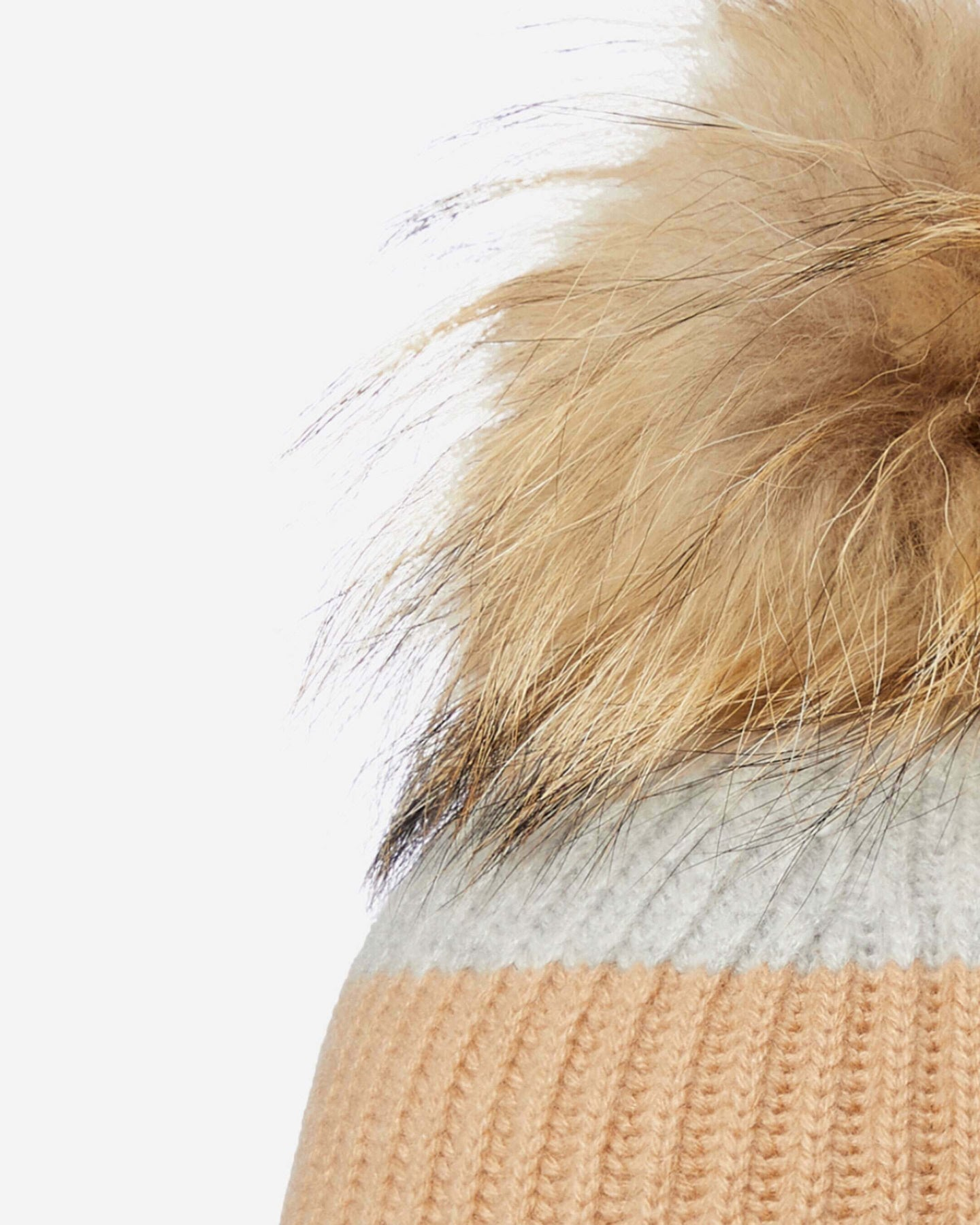 Ribbed Cashmere Hat With Detachable Pom Ecru White Camel Brown Fumo Grey 2