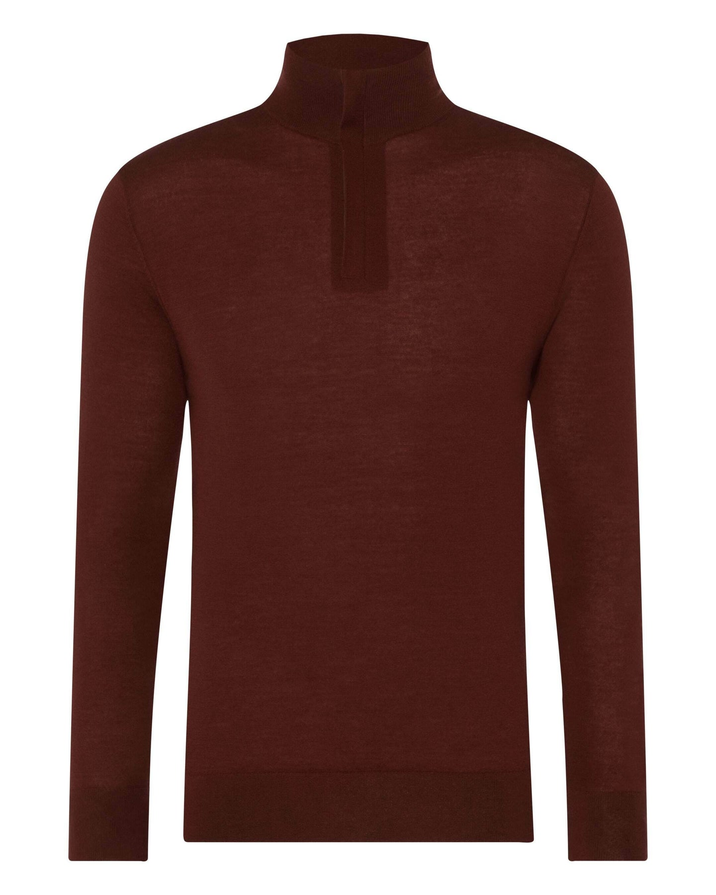 The Regent Fine Gauge Half Zip Sweater Terracotta Red 2