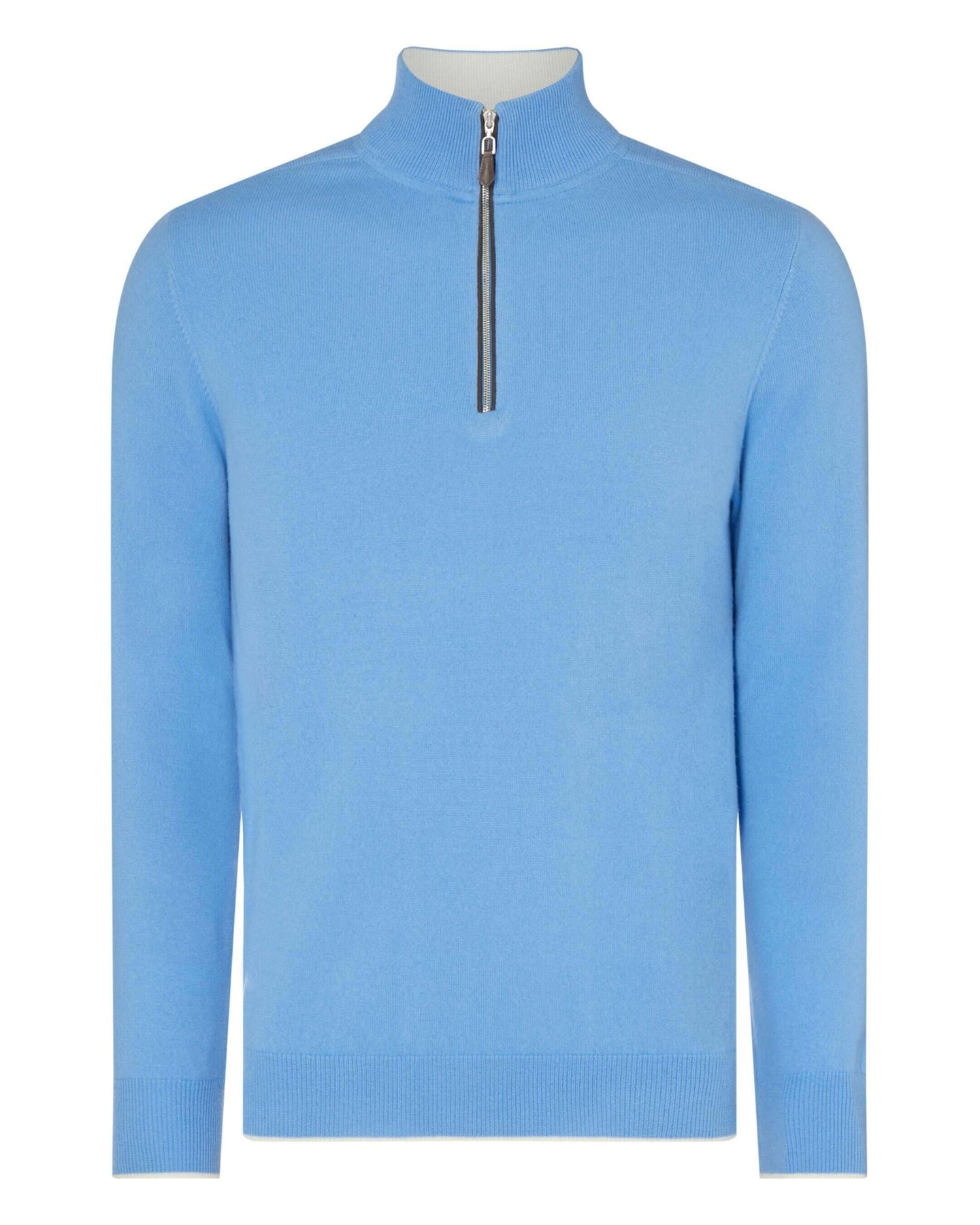 The Carnaby Half Zip Cashmere Sweater Atlas Blue New Ivory White 2