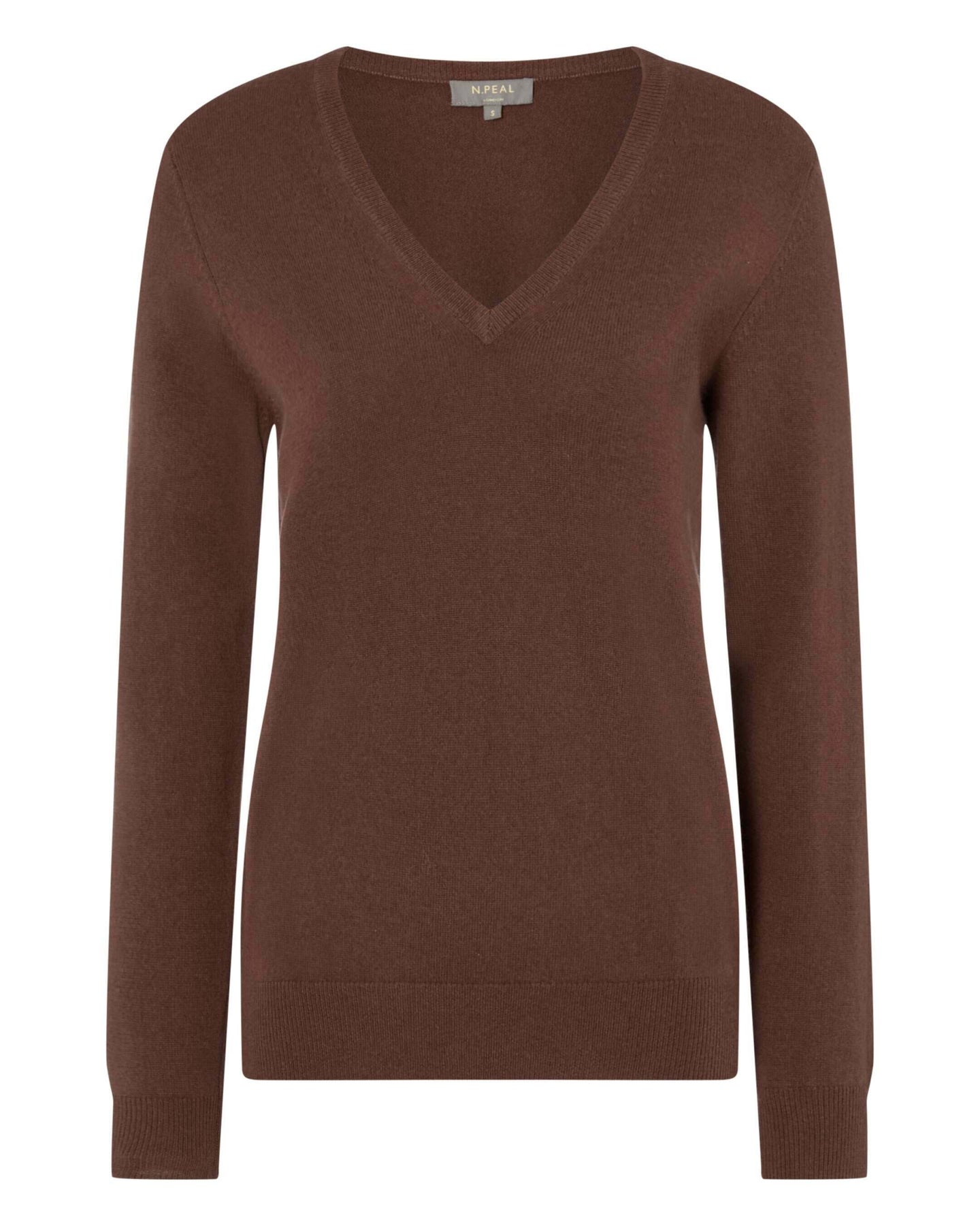 V Neck Cashmere Sweater Henna Brown 2