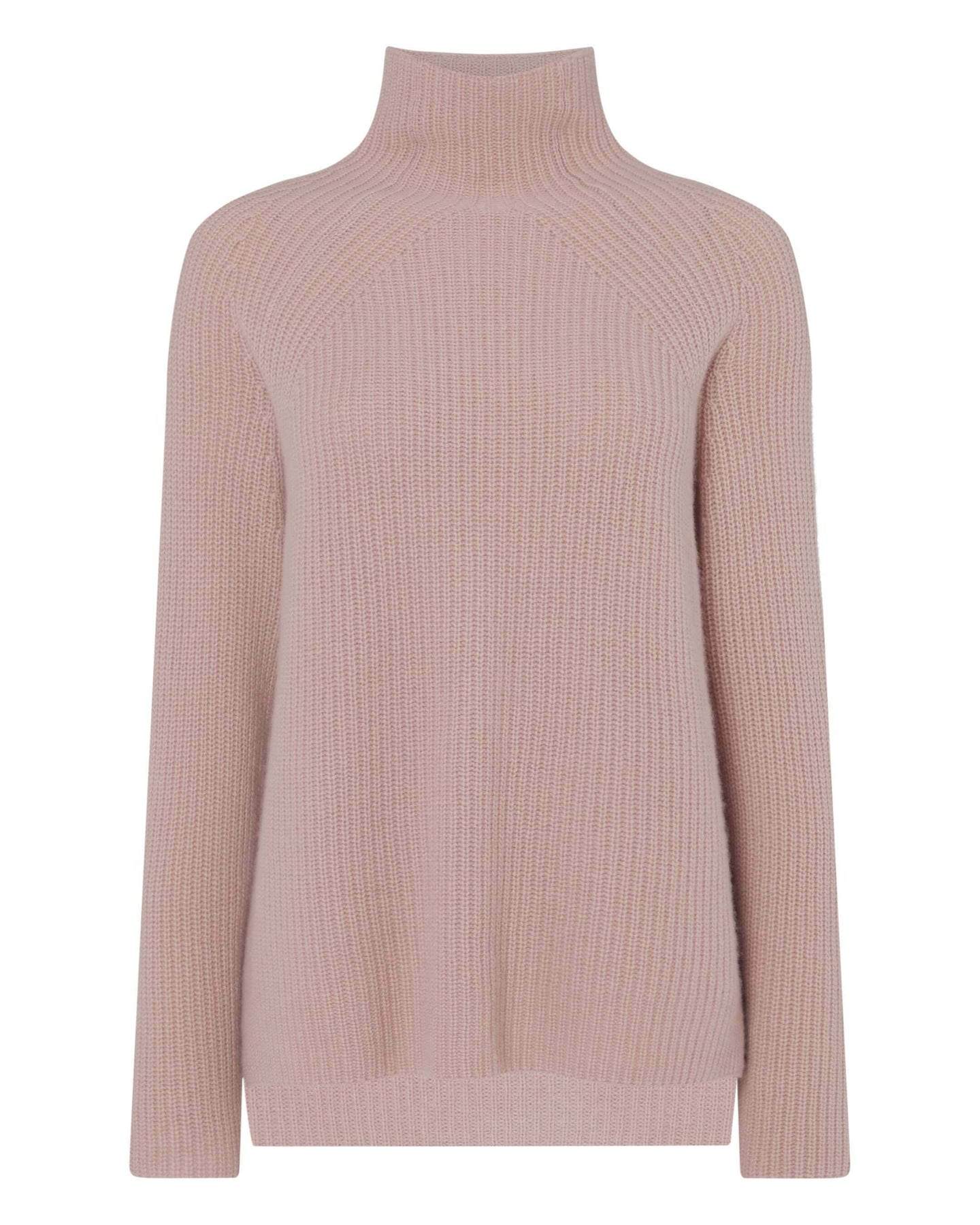 High Neck Ribbed Cashmere Sweater Desert Sand Brown 2