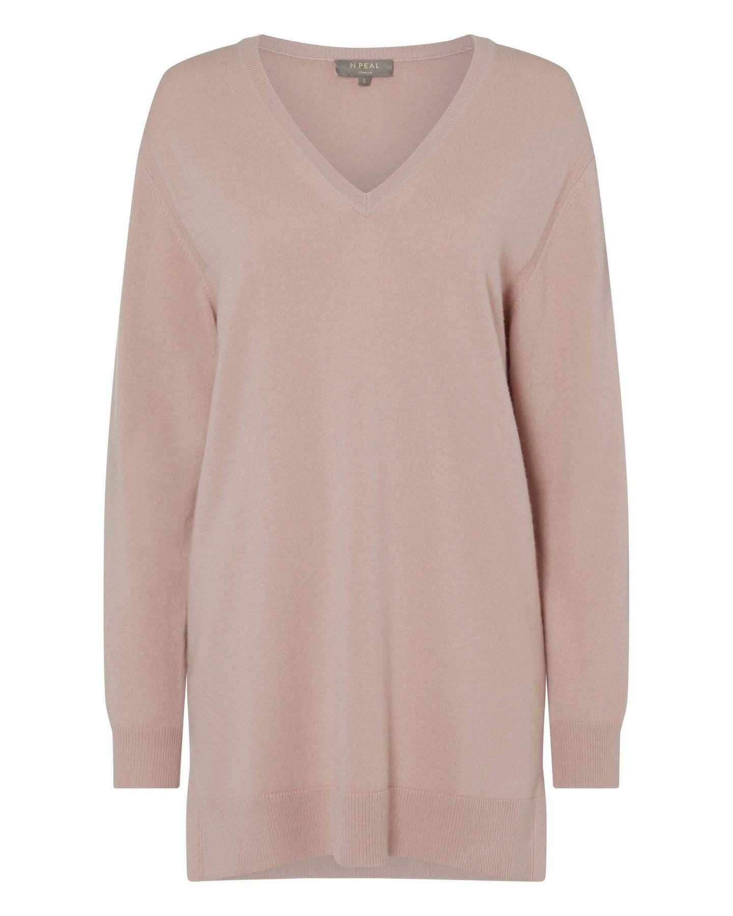 V Neck Longline Cashmere Sweater Desert Sand Brown 2