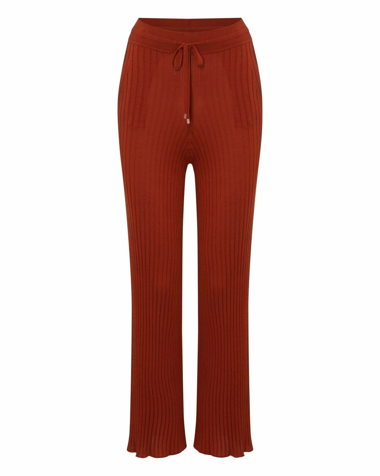 Silk Blend Ribbed Trousers Amber Orange