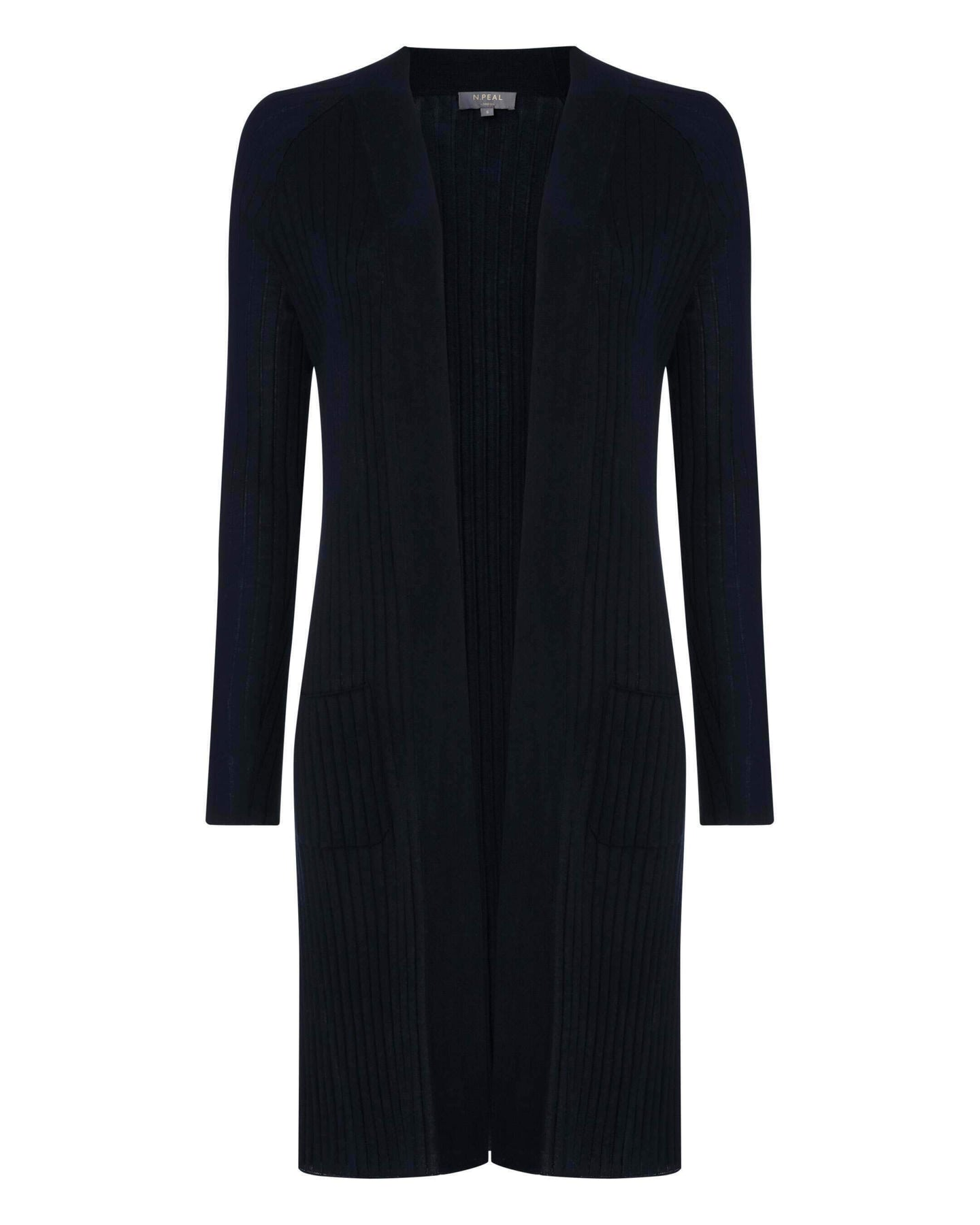 Silk Blend Ribbed Cardigan Navy Blue