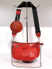 Designer Inspired Red Leather Handbag With Detachable Strap. €59.95.