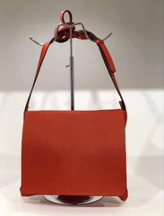 Designer Inspired Red Leather Handbag With Fold Over Flap From Rocco Boutique Dublin.