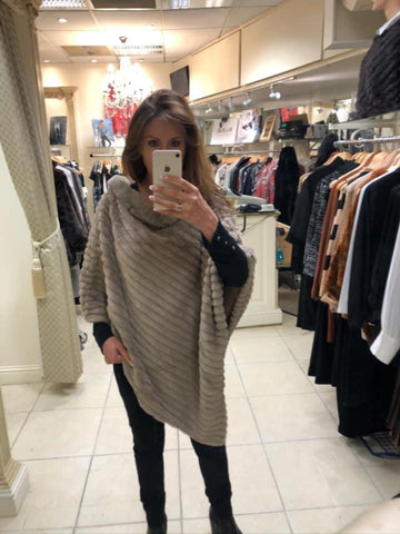 Faux fur light brown poncho, stylish women's winter wear, at Rocco Boutique Dublin