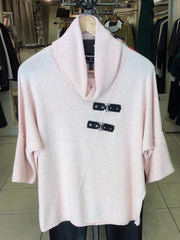 Beautiful soft Pink Knit Jumper With leather look trim €110 at Rocco Boutique Dublin