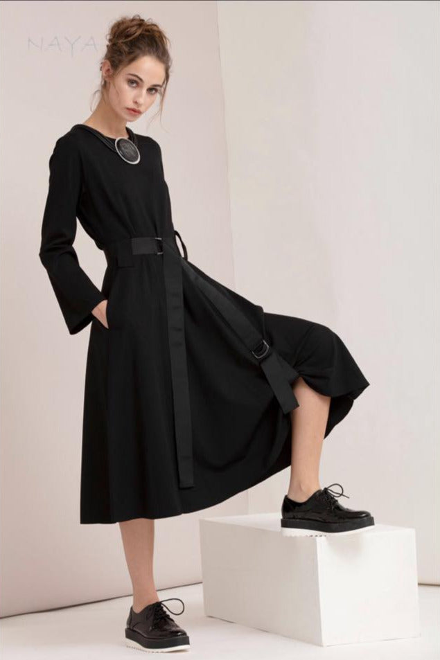 Naya Black Funky Long Sleeve Midi Dress with Pockets at Rocco Boutique Dublin 3