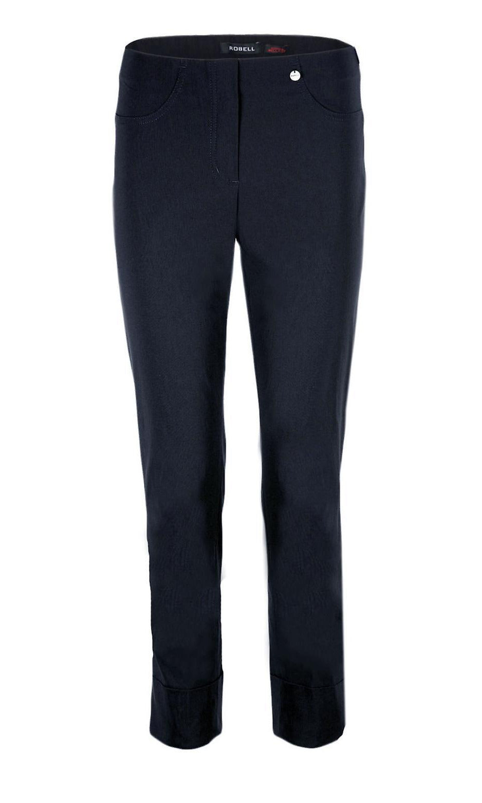 Bella Cuff Ankle Length Trousers in Navy at Rocco Boutique Dublin