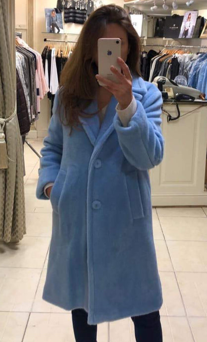 Baby Blue Long Wool Coat from Rocco Womenswear Boutique Dublin