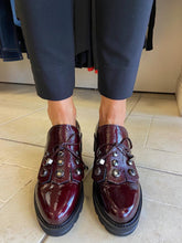 Load image into Gallery viewer, Patent Wine Shoe with Silver Hardware from Callaghan Footwear at Rocco Boutique Clontarf