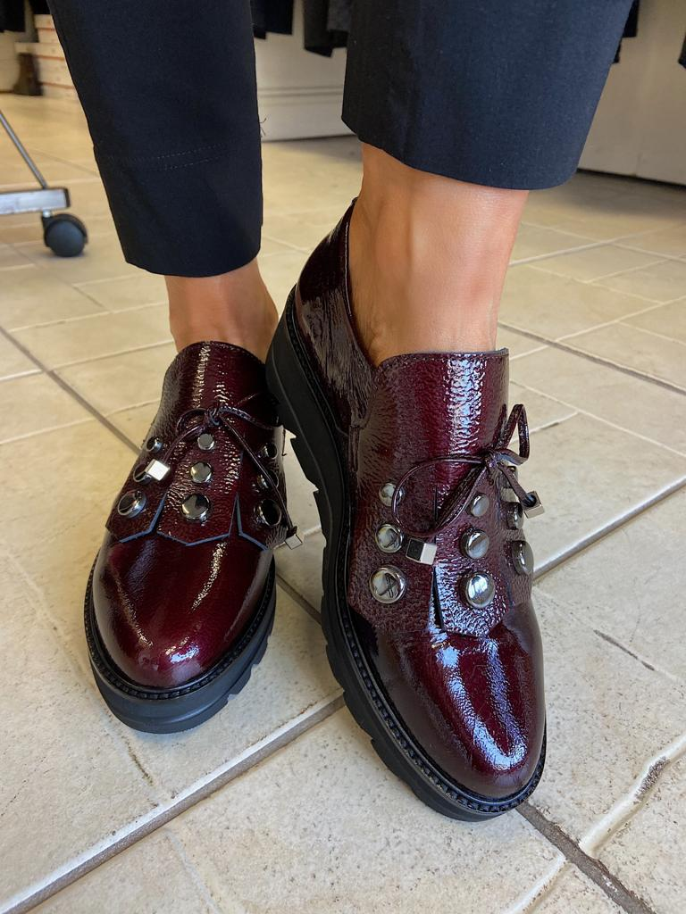 Patent Wine Shoe with Silver Hardware from Callaghan Footwear at Rocco Boutique Clontarf