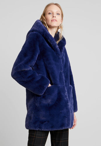 Midnight Blue Faux Fur Coat with Hood from Derhy at Rocco Boutique Clontarf Dublin