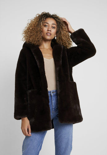 Chocolate Brown Fur Coat with Hood from Derhy at Rocco Boutique Womenswear