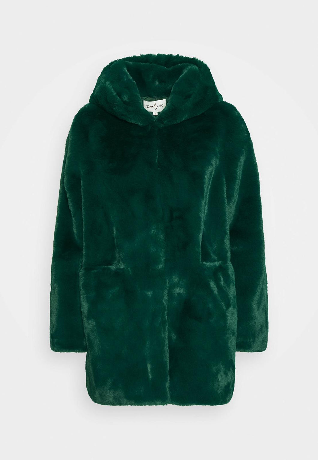 Emerald Green Fur Coat with Hood from Derhy Womenswear at Rocco Boutique Clontarf